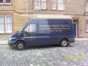 comely bank glazing Edinburgh contractor van